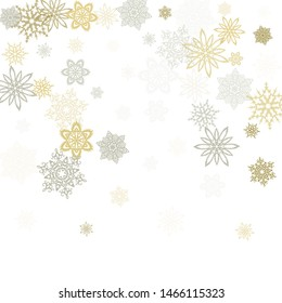 Gold silver paper snowflakes flying vector winter background. Cool stylized falling and flying airy paper snow flakes. Winter seasonal snowflakes conceptual decoration.