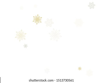Gold silver paper snowflakes flying vector winter background. Decorative stylized falling and flying airy paper snow flakes. Winter seasonal snowflakes conceptual Christmas elements.