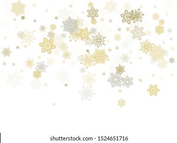 Gold silver paper snowflakes flying vector winter background. Cute stylized falling and flying airy paper snow flakes. Winter seasonal december weather snowflakes ice crystals.