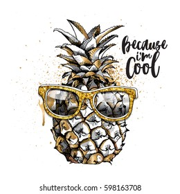 Gold and Silver pineapple fruit in a glitter glasses on a white background. Vector illustration.