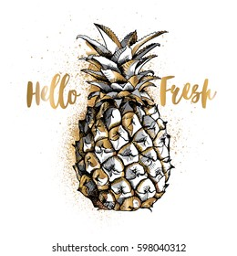 Gold and Silver pineapple fruit on a white background. Vector illustration.