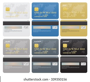 Gold, Silver, Platinum, Diamond Credit cards template on white background. Vector illustration