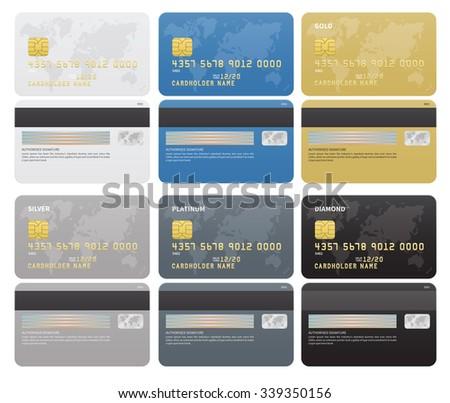 gold silver platinum diamond credit cards のベクター画像素材