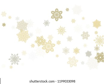 Gold silver platinum paper snowflakes flying vector winter background. Simple stylized falling and flying airy paper snow flakes. Winter seasonal snowflakes conceptual ice crystals.