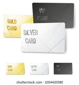 Gold silver platinum VIP membership cards collection with crystal line pattern. Privilege loyalty exclusive club coupon design. Vector illustration