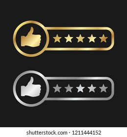 Gold and silver product rating vector icon