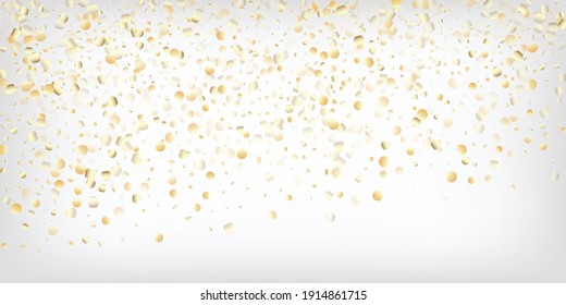 Gold, Silver Rich Flying Bokeh Confetti. Magic Elegant New Year Christmas Celebration Vector Background. VIP Gold, Silver Lights, Sparkles, Gradient Tinsel Confetti. Sparkling Winter Foil.