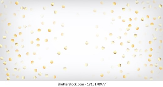 Gold, Silver Rich Flying Bokeh Confetti. Expensive Magic New Year Christmas Decoration Vector Background. VIP Gold, Silver Lights, Sparkles, Gradient Tinsel Confetti. Sparkling Winter Glitter.