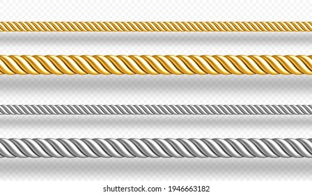 Gold and silver ropes, twisted twines isolated on white background. Vector realistic set of 3d golden and metal satin cords. Decoration borders of straight silk strings