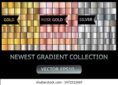 Gold silver rose gold metal gradient scratch texture background set. Gold gray scratched metal chrome texture vector icon foil background collection. Gold for banner, ribbon, label. Golden scratch