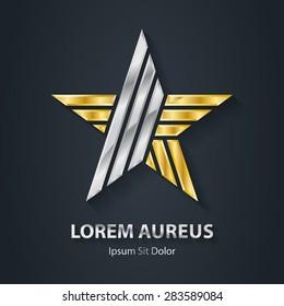 Gold and Silver star logo. Award 3d icon. Metallic logotype template. Volume Vector illustration.