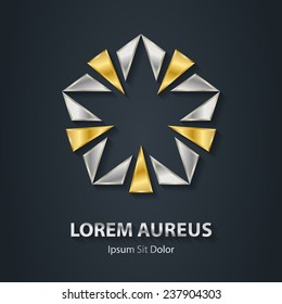 Gold and silver star vector logo. Award 3d icon. Metallic logotype template. Volume illustration with shadow.
