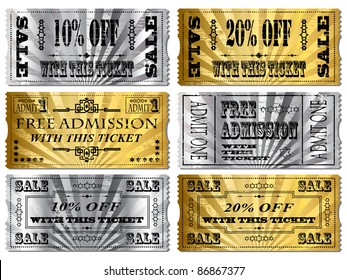 Gold and Silver tickets. Money Off and Free Admittance