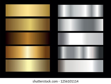 Gold Silver. Vector golden shiny and metal gradient collection, vector illustration
