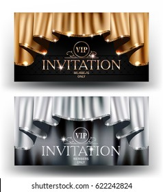Gold and silver VIP invitation cards with  curtains with sparkling rim. Vector illustration