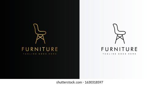 Gold simple chair furniture logo. Modern logo icon template vector design