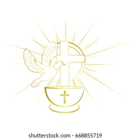 Gold, simple and classy baptism symbols. Invitation.