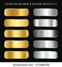 Gold and Sliver color gradient background. Premium colors. Elegant color gradients.