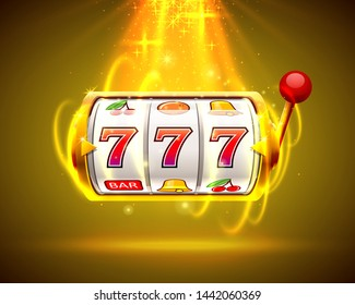 Gold slot machine wins the jackpot. Big win slots 777 banner casino. Vector illustration