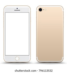 Gold Smartphone Mockup with Blank Screen Isolated. Realistic Front and Back View For Print, Web, Application. High Detailed Device Mock Up Separate Groups and Layers. Easily Editable Vector.