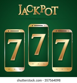 Gold smartphone template. Golden smart phones isolated. Realistic mobile phone. Casino jackpot symbol. Gold text jackpot number 777. Internet casino games. Vector illustration.