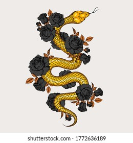 Gold snake and roses illustration. Vector illustration. Hand drawn illustration for t-shirt print, fabric and other uses