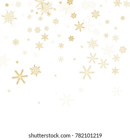 Gold Snow Falling on Black Background. Golden Snowflakes. Luxury Festive Background for your Christmas and New Year Design of Banners, Cards, Posters, Wallpaper. Winter Frost Print. Holiday Frame.