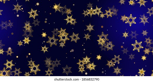 Gold snowflake seamless pattern. Fall golden, vivid, bright snow. Vector Illustration with frost, snowfall, star. Holiday Winter Dark blue background for New Year's, christmas celebration.
