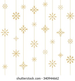 Gold snowflake seamless pattern. Vector illustration.Beautiful Christmas background.