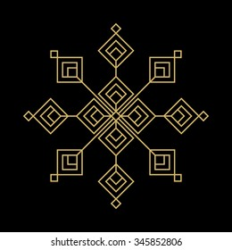 gold snowflake vector sign isolated on black background