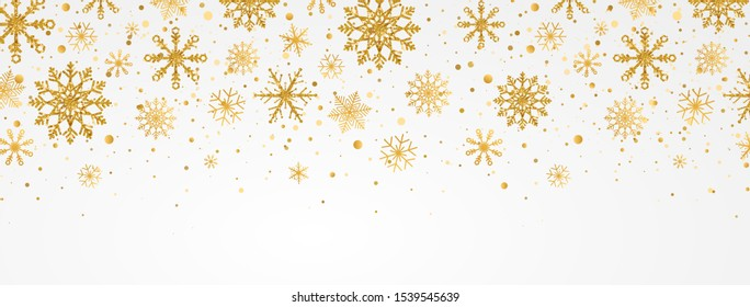 Gold snowflakes falling on white background. Golden snowflakes border with different ornaments. Luxury Christmas garland. Winter ornament for packaging, cards, invitations. Vector illustration.