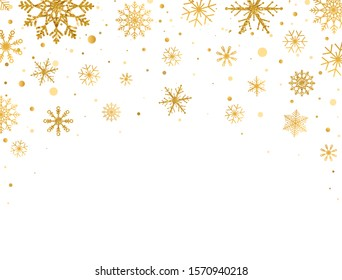 Gold snowflakes falling on white background. Golden snowflakes frame with different ornaments. Luxury Christmas garland. Vector illustration.