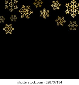 Gold Snowflakes on black background. Winter Holidays banner. Golden Snow flakes