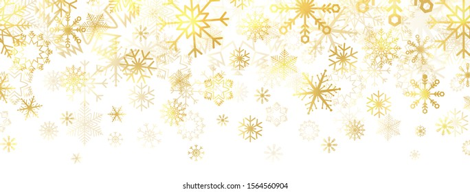Gold snowflakes on white background. Golden snowflakes border with different ornaments. Luxury Christmas banner. Winter ornament for packaging, cards, invitations. Vector illustration.
