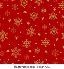 Gold snowflakes and stars seamless pattern on a red background. Vector Christmas illustration.