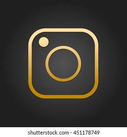 Gold Social Media Icon Vector Design