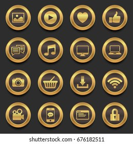 gold social media in premium icons, vector illustration