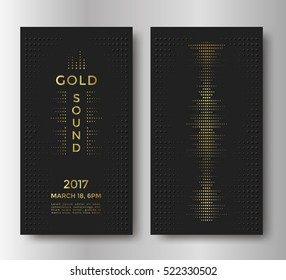Gold sound flyer or card design with golden equalizer and text. Luxury music background. Vector template