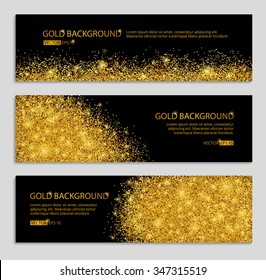 Gold sparkles on black background, banners. Golden banner. Gold club banner with text. Banners, logo, web,  card, vip, exclusive, gift, luxury, privilege, voucher, store, present, sale. Golden foil
