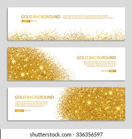 Gold sparkles on white background, banners. Gold banner. Golden background text. Banners logo, web, card, vip, exclusive, certificate, gift, luxury, privilege, voucher, store, present, shopping, sale.