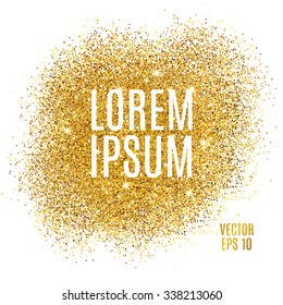 Gold sparkles on white background. Gold glitter background. Golden text for card, vip, exclusive, certificate, gift, luxury, privilege, voucher, store, present, shopping.