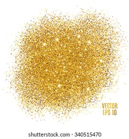 Gold sparkles on white background. Gold glitter background. Golden backdrop for card, vip, exclusive, certificate, gift, luxury, privilege, voucher, store, present, shopping.