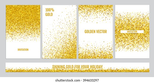 Gold sparkles on white background, banners. Gold banner. Gold background text and gold sparkle. Perfect for invitations to weddings, birthdays, holidays and parties.