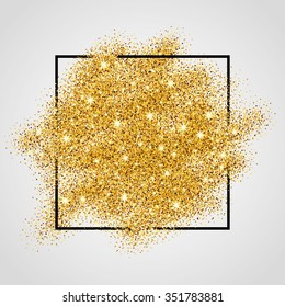 Gold sparkles on white in frame. Golden glitter background. Shine backdrop for card, vip, exclusive, certificate, gift, luxury, privilege, voucher, store, present, shopping.