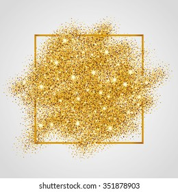b29c3d1a6505 Gold sparkles on white in frame. Golden glitter background. Shine backdrop  for card