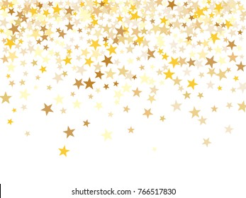 Gold sparkling background with star dust isolated on white. Gold stars sparkling glitter magic background. Golden glitter sparkles confetti flying on white, glossy shine vector graphic design.