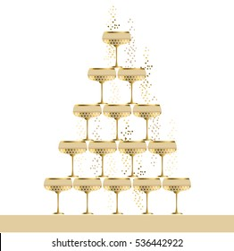 gold sparkling champagne glass pyramid flat vector illustration. festive wedding wineglasses in tower design for poster, invitation and cards.