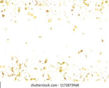 Gold sparkling confetti flying on white holiday vector frame graphic design. Cool flying tinsel elements, gold foil texture serpentine streamers confetti falling festive vector.