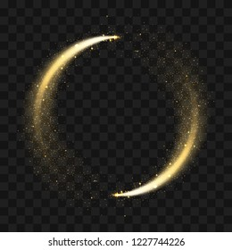 Gold sparkling glitter circle. Vector circle of golden glittering particles with star light trail and shine glow on transparent background