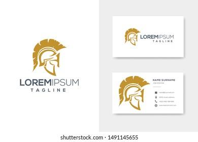 Gold spartan helmet luxury logo vector
